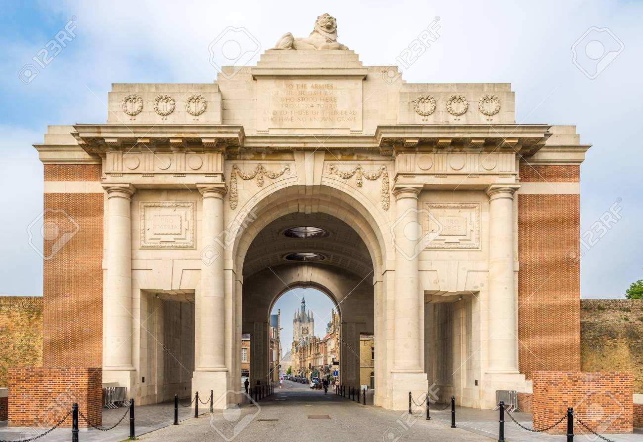 View at the Menin Gate Monument (World War Memorial) in Ypres, Belgium