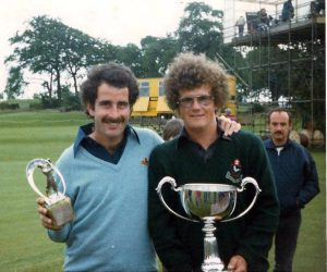 Bill Rutherford with Sam Torrance after one of his wins. Bill was his caddy