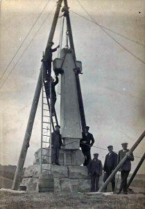Erecting the Flodden Memorial