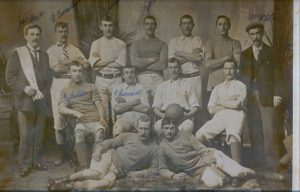 From Left to right top row Jas Tait, R Townsley, J Ledgerwood, J Mitchell. ?   W White.Middle Row G Davidson, R Lamont, ?Front Row ?   R Pearson.