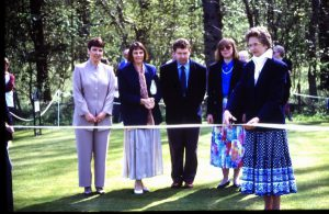 Opening of the 18 holes golf course 1994.  Right to left Jackie Seaton Margaret patterson, Trevor Swan, June Swan and Miss Caroline Douglas Hume.