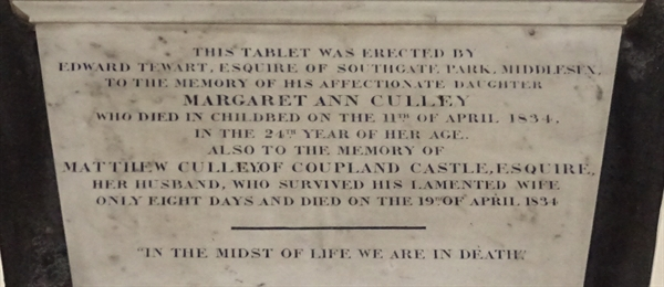 Memorials inside the Church - 15 -  Culley