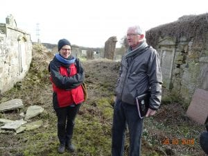 Lennel Kirk  with Historic Scotland personnel inspecting the ruin before we started  (Gerald Tait one of the team)