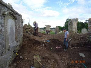 Inner kirk during rubble and soil clearance; John Home Robertson and Allan Wightman