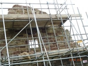 Scaffold round the gable end