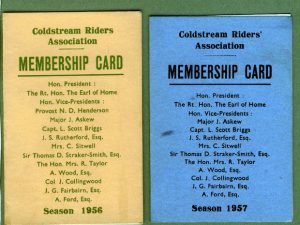 Members card for Coldstream Riders