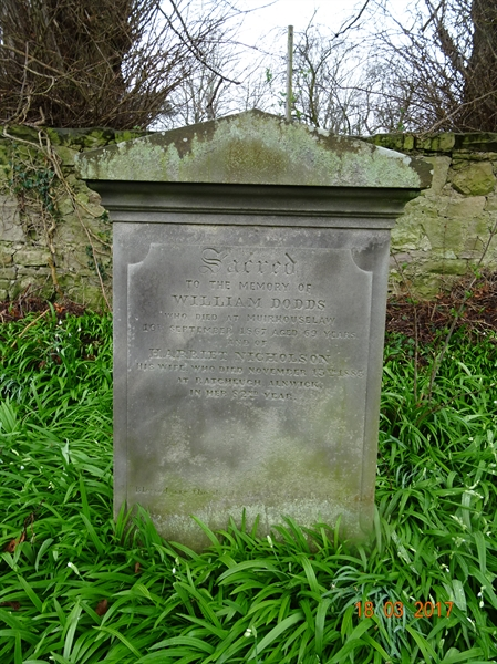 Norham Churchyard Section A Row 2 - 8 - Dodds/Nicholson