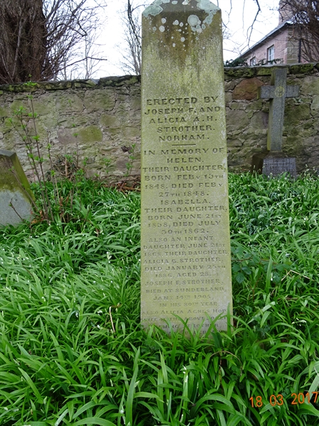 Norham Churchyard Section A Row 3 - 1 - Strother/Hope