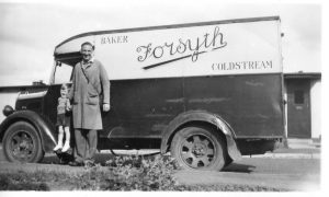 Mr Jim Bell with son Robert in Forsyth the bakers van