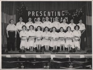 Rutherford Concert Party\\r\\nL/R Maisie Tocher, Jean Thompson, Marion Spence, M Ross, D Manning, ? Patterson, M White. Back Row L/R Johnnie Cairns, ????? J Dalglish