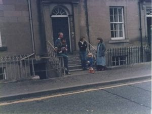 Outside Stuart and Christine Taits house with Ian Sproule on the steps and Judith Brydon iwith Gemma at the front