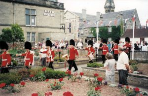 Coldstream Guards Marching past the War Memorial