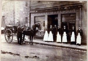 Outside R Carmichael shop about 1910