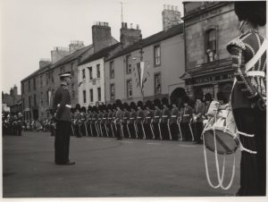 The Coldstream guards on parade in the Market Square 1968