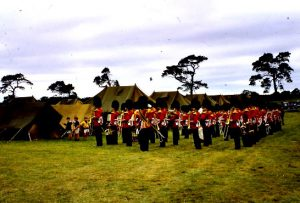 Coldstream Guards Band in the School field Coldstream