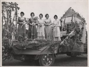 Rutherford float in fancy dress coldstream civic week 1952? L/R M Spence, M White, J  ? , ? Patterson D Manning