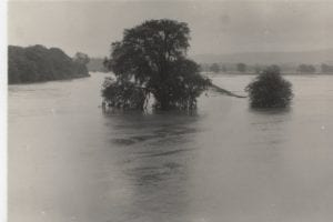 Tweed Flood at Coldstream 28th August 1956 looking over the Lees