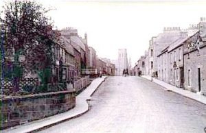 West end looking east along the High Street. Its the old Leet Bridge