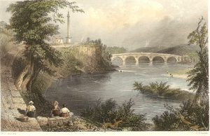 Coldstream bridge from the Nuns Walk. This picture was used on the front of the book The History of Coldstream