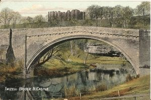 Twizell Bridge  and the Castle in ruin about 1950