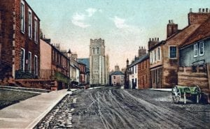High Street looking West with the CourtHouse on the Left and St Cuthberts Church in the back ground