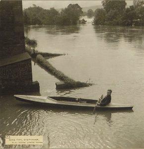having fun in the 1948 flood at the Leet Green