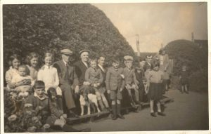From Left to right  Jean Mitchell,Small Child ? Betty Mitchell, Florence Fulton, George Swan (Dod) Jake Fulton (Blode) Harry Swan,Tom Swan (Sen) Fred Mitchell, Jimmy Miller, Olive Swan, Front Jim Miller, James Swan (Edinburgh) Allan Mitchell, Dog, Joe Moffat, Thomas Swan (Edinburgh), Nicol Swan, Rita ?, Richard Mitchell, Margaret Swan (Edinburgh) Sheena Swan.