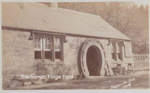 Blacksmith Forge Ford Northumberland. Note the Horseshoe door