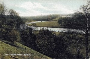 """Tweed from Lennel looking East. """"Note the fishing shiel on the South side"""""""