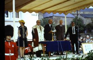 From right to left Lady Home, Provost  Loyd Sir Alec Douglas Home  William Swan, Bill Main,