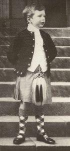 Sir Alexander Douglas-Home as a boy in a Kilt