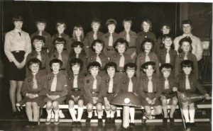 Coldstream Brownies 1966 or 1967  Back  Row:Anne Rettie, Carol Raeburn, Isobel Kerr, Jane Harvey, Mary Hermiston, Kathryn Rettie, Alison Cowan, Wendy Johnston, Margaret Davidson, Peg Keddie  Middle Row: Nancy Grey, Caroline Cunningham, Myra Hanlon, Kathryn Sim, Janice McLeish, Jean Hermiston, Susan Moffat, Carol Hanlon  Front Row: Caroline Lillico, Susan Kerr, Sheila Moffat, Margaret Kerr, Roslyn Reid, Susan ???, Susan Harvey, Gillian Campbell, Brenda Johnston