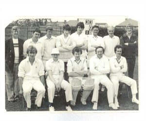Coldstream Cricket team 1980''s Left to Right  Back Row; Boyd Young, Fordyce Maxwell, Dave Young, James Marjoribanks, Michael Dagg, Billy Young, George Inglby, Alister Marjoribanks, Front Row; Grayham Dagg, Michael Swan, Trevor Swan, Allan Riley, Stuart Seaton.