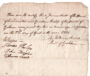 Marrige certificate from the bridge. James Scott and Christine Hislop