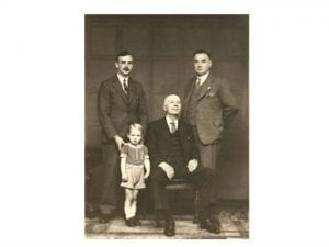 Four generations of the Rutherford family. John, William, Jock, and Craster