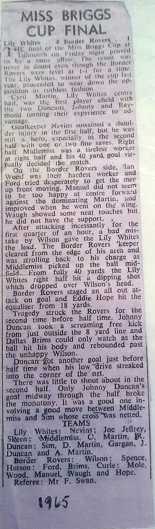 Miss Briggs Cup Tillmouth final report 1965