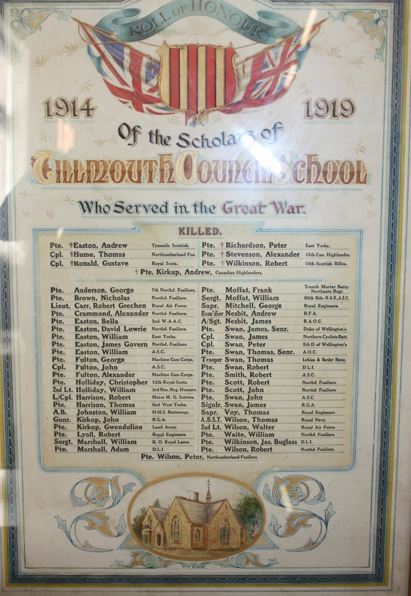 Tillmouth Council  School  Who served in the great War