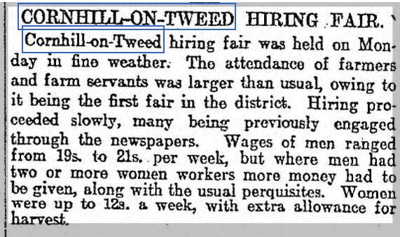 Cornhill-on-Tweed Hiring Fair 3rd March 1915